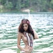 Young beautiful woman bathes in lake — Stock Photo #40403887