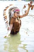 Woman in costume of American Indian — Foto de Stock