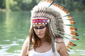 Woman in costume of American Indian — Foto de Stock