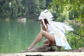 Woman in costume of American Indian — Stock Photo