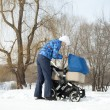 Mother with baby stroller for newborn — Stock Photo #41625799