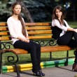 Young woman resting on a bench in the park — Stock Photo #42484435