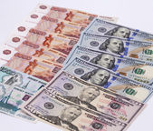 Currency exchange rate of the ruble against the dollar — Stock Photo