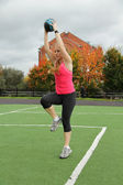 Athletic young woman engaged in fitness — Foto de Stock