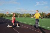 Atlética madre e hijo en fitness — Foto de Stock