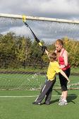 Спортивная(ый) мать и сын занимается Фитнес — Стоковое фото