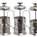 Three Empty glass teapot — Stock Photo