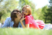 Young beautiful couple close up  — Stock Photo