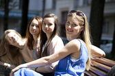 Portrait of four urban women outside — Stock Photo