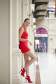 Young beautiful woman in red dress  — Stock Photo