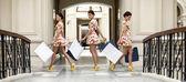 Collage three shopping women — Stock Photo