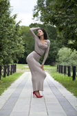 Young woman in sexy long gray dress  — Stok fotoğraf