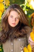 Piękny model z jesieni pozostawia i spadek żółtym tle ogród — Zdjęcie stockowe