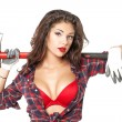 Sexy brunette with an ax in his hand, isolated on white backgrou — Stock Photo #50981997