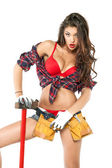 Sexy brunette with an ax in his hand, isolated on white backgrou — Stock Photo