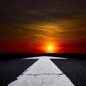 An dark evening car route — Stock Photo