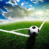 Green soccer field — Stock Photo