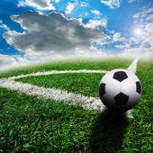 Fotboll på fältet — Stockfoto