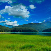 Black lake and grass near by mountians — Stock Photo