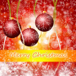 Red Christmas background with lights - Stock Photo