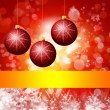 Red Christmas background with lights - Stok fotoğraf