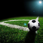 Soccer ball on the field — Stok fotoğraf