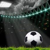 Campo de fútbol con luces brillantes — Foto de Stock