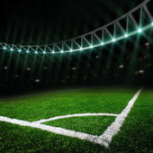 Soccer field with bright lights — Foto Stock