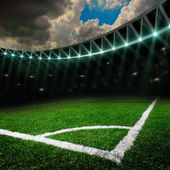 Soccer field with bright lights — Photo
