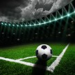 Soccer field with bright lights — ストック写真