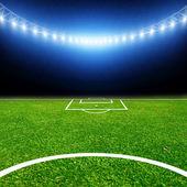 Stadio di calcio con luci thw — Foto Stock