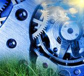 Mécanisme d'horloge métal — Photo