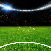 Soccer stadium with thw lights — Stock Photo