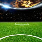 Estádio de futebol com luzes thw — Fotografia Stock