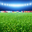 Soccer stadium with flags and lights — Stock Photo