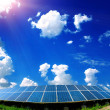 Solar panels on the field — Stock Photo