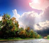 Asphalt road with the sky — Stock Photo