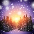 Stock Photo: beautiful winter landscape with christmass trees