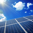 Solar panels with the sunny sky — Stock Photo