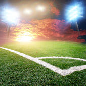 Soccer stadium with bright lights — Stock Photo