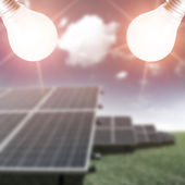 Solar panels on the field — Stock Photo