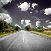 Asphalt road near green fields — Stock Photo