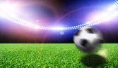 Soccer stadium with the bright lights — Stock Photo