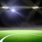 Fotbollsarena med starkt ljus — Stockfoto