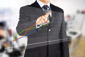 Image of male hand pointing at business graphics — Stock Photo