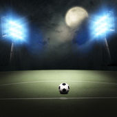 Soccer field at the moon light — Stock Photo