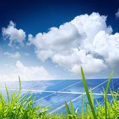 Solar pannels under bright sun light — Stock Photo