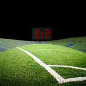 Soccer field with the projectors — Stock Photo