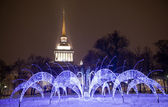 Fountain near Admiralty in illumination — Stock Photo
