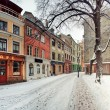 Winter street of old town Riga — Stock Photo